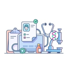 Medical stethoscope microscope accessories vector