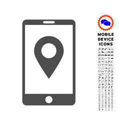 Mobile gps icon with set vector