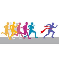 Racing people and winning runner marathon vector