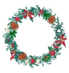 Round christmas wreath with fir cones and gift vector