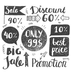Sale hand lettering Shop dicount grunge style vector image vector image