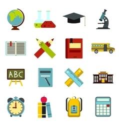 School icons set flat ctyle vector image vector image
