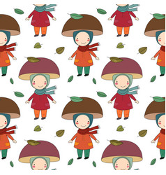 Seamless pattern with gnome mushroom cheerful vector