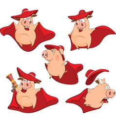 Set Cartoon Cute Pigs in Superhero vector image vector image