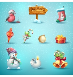 Set of festive items for Christmas and New Year vector image