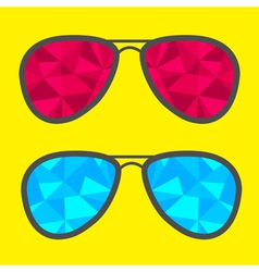 Set of glasses with blue and red abstract triangle vector image
