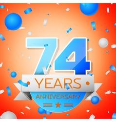 Seventy four years anniversary celebration on vector