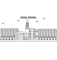 Spain girona architecture line skyline vector