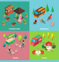street food concept square poster set vector image vector image
