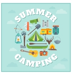 Summer Camping Round Design vector image vector image