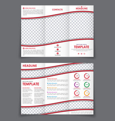 template folding brochure with red wavy elements vector image vector image