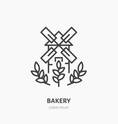 Windmill with ears of wheat bakery logo flat vector