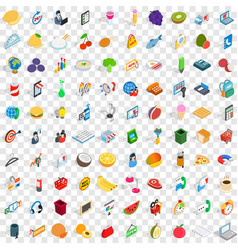 100 shop icons set isometric 3d style vector