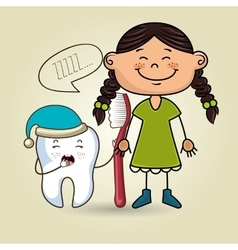 Cartoon girl holding toothbrush and a cartoon vector