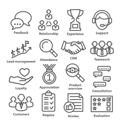 Business management icons in line style pack 03 vector