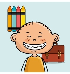 Boy student colors school baggage vector