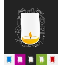 lamp paper sticker with hand drawn elements vector image