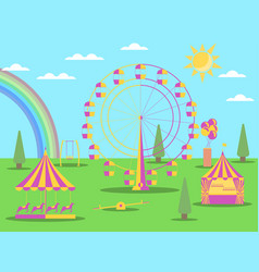Amusement park flat style a ferris wheel vector