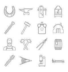 Blacksmith icons set outline style vector