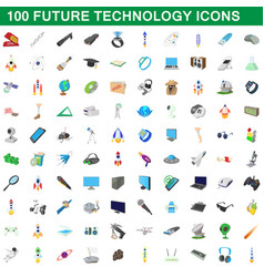 100 future technology icons set cartoon style vector