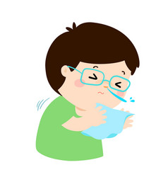 little boy sneezing cartoon vector image