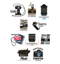 Photo studio icon set with camera lens and film vector