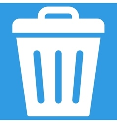 Trash can flat white color icon vector