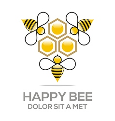 Logo beehive sweet natural and honey design vector