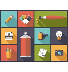 Art design and photography flat icons vector