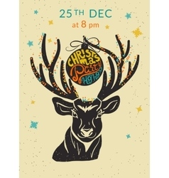 Christmas party ho ho ho invitation with reindeer vector