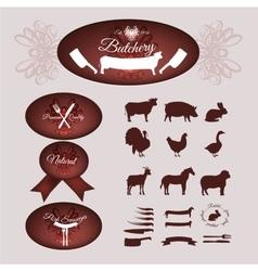 Butcher shop logotypes vector image
