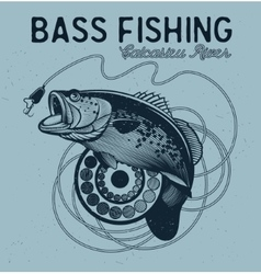 Vintage bass fishing emblems labels vector