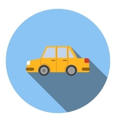 Yellow car icon flat style vector