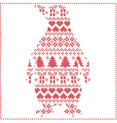 Scandinavian nordic winter stitching knitting vector