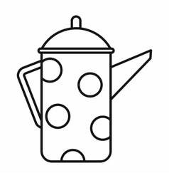 Retro coffee kettle icon outline style vector