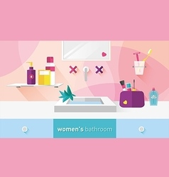 Bathroom for women menthol and red shades vector