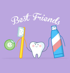 best friends of healthy tooth vector image vector image