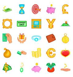 big money icons set cartoon style vector image