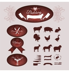 Butcher shop logotypes vector image
