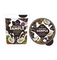 Coconut chocolate yogurt packaging design template vector