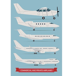 Commercial and Private Airplane Icon Set vector image vector image