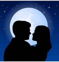 Couple and the moon vector
