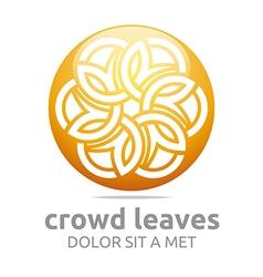Crowd leaves ecology floral logo design vector