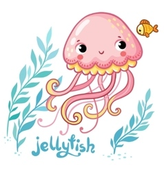 Cute cartoon Jellyfish in vector image vector image