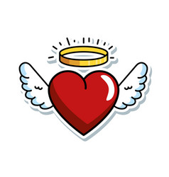 Cute heart with wings and halo vector