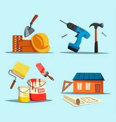 Drill and hammer home with ruler and brush vector