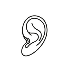 ear icon on white background vector image vector image