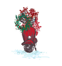 festive christmas card red scooter with fir vector image