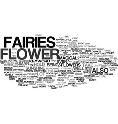 Flower fairies text background word cloud concept vector