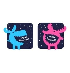 funny moose wishes Merry Christmas vector image